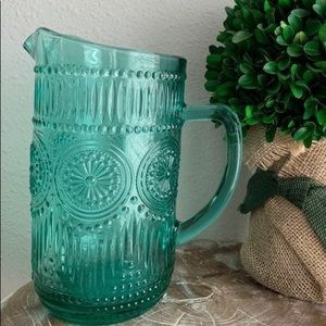 New Pioneer Woman Teal Glass Pitcher